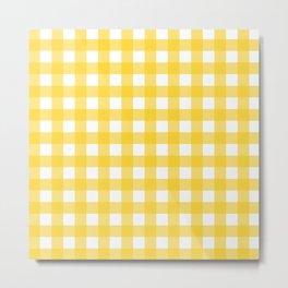 White & Yellow Gingham Pattern Metal Print