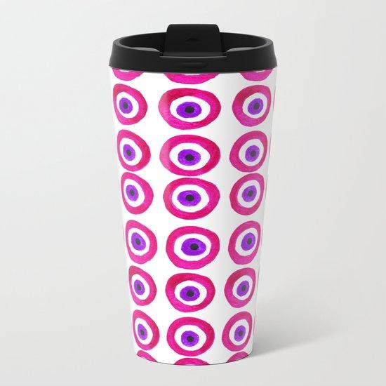 Evil Eye Amulet Talisman in Pink Metal Travel Mug