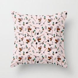 Farm Silhouette Pattern Design Throw Pillow