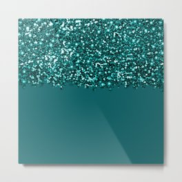 Sparkly Glam Dark Teal Glitter Gradient Collection Metal Print