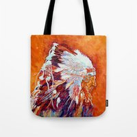 native american Tote Bags featuring Native American by LiliyaChernaya