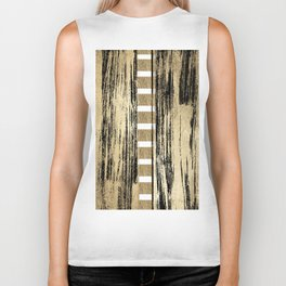 Trendy chic black faux gold foil brushstrokes striped Biker Tank