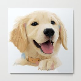 Golden Retriever Pup Metal Print