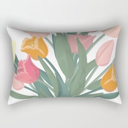 Bouquet of tulips in glass vase Rectangular Pillow