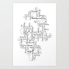 Cursive Cursing Art Print