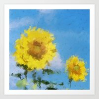 sunflowers Art Prints featuring Sunflowers by Paul Kimble