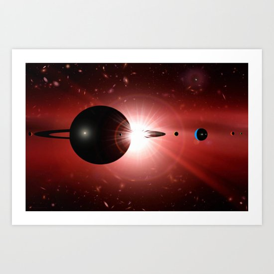 Red star and black planet. Art Print