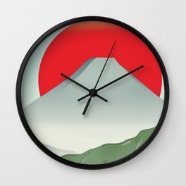 Japan mountain vintage style travel poster Wall Clock