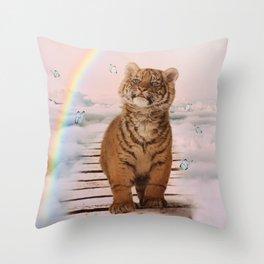 A tiger on the Rainbow Bridge Throw Pillow