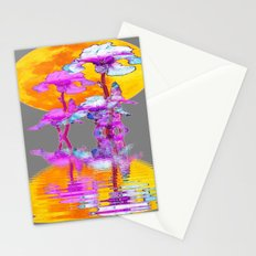 PURPLE-WHITE IRIS MOON REFLECTION Stationery Cards