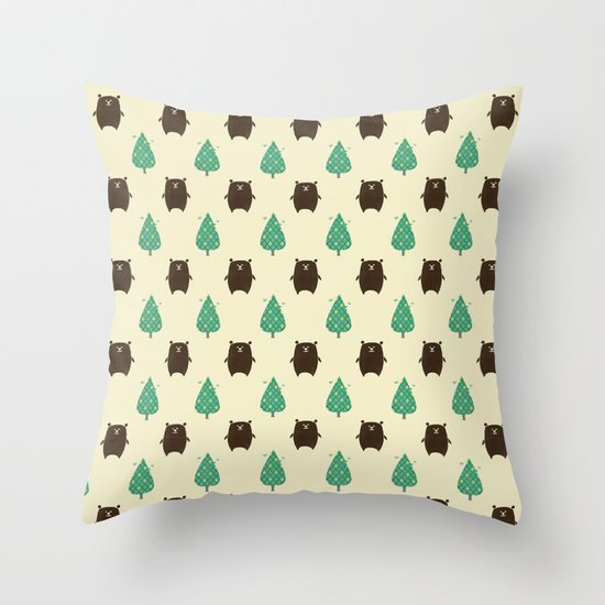 Bears and Trees Throw Pillow