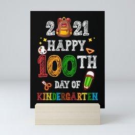 100 Days Of Kindergarten School Gift Students Teachers Mini Art Print