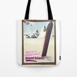 mont blanc Snowboarding travel poster. Tote Bag