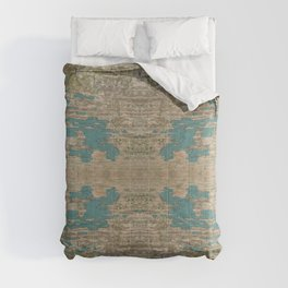 Rustic Wood - Weathered Wooden Plank - Beautiful knotty wood weathered turquoise paint Comforters