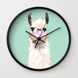 Bubble Gum Popped on Llama (1 in series of 3) Wall Clock