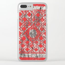 Celtic Orange and Black Lace Woodcut Print Clear iPhone Case