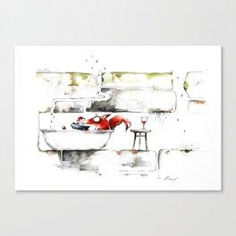 THE FOX IN THE BATHTUB Canvas Print