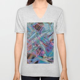 Colorful Abstract Stained Glass G302 Unisex V-Neck