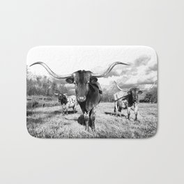 Longhorn Cattle Black and White Highland Cows  Bath Mat