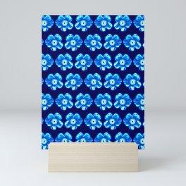 Blue Flower Girly Pattern Mini Art Print