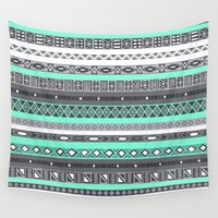 tiffany Wall Tapestries featuring Tiffany Turquoise Aztec Print by Directapparelco