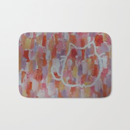 Cat Silhouette on Pink Background Bath Mat