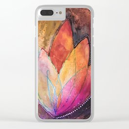 Lotus Dreaming in Colour and Dots Clear iPhone Case
