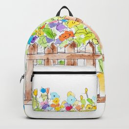 colorful flowers in 3 pots watercolor  Backpack