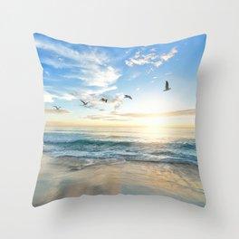 Ocean Beach Waves Sunset Photo Throw Pillow