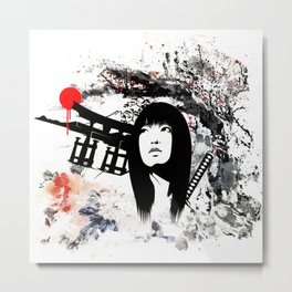 Japanese Geisha Warrior Metal Print