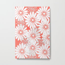 Summer Flowers Living Coral Metal Print