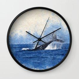 Watercolor whale nautical beach house print Wall Clock