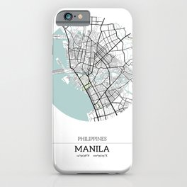 Manila Philippines City Map with GPS Coordinates iPhone Case