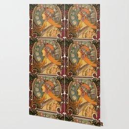 Alphonse Mucha La Plume Zodiac Wallpaper
