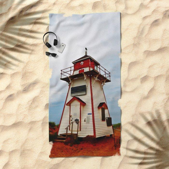 Crow on the Lighthouse Beach Towel
