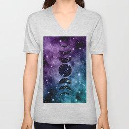 Purple Teal Galaxy Nebula Dream Moon Phases #1 #decor #art #society6 Unisex V-Neck