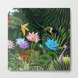 Classical Masterpiece 'Tropical Birds and Flying Things' by Henry Rousseau Metal Print