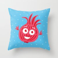 Cute Red Onion Throw Pillow