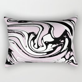 Black, White and Pink Graphic Paint Swirl Pattern Effect Rectangular Pillow