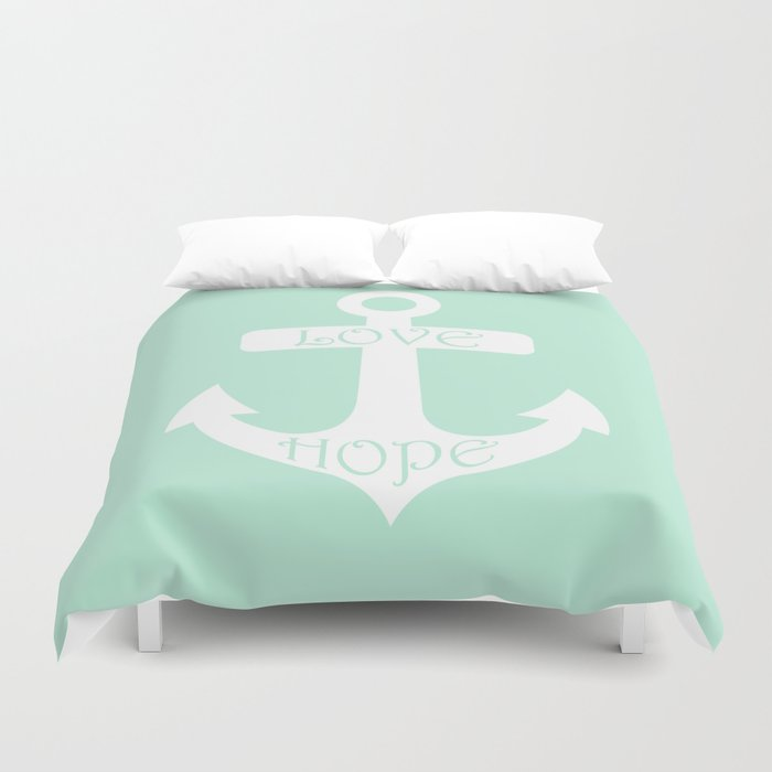 Love Hope Anchor Mint Green Duvet Cover