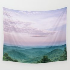 Pink Sunset over the Blue Ridge Mountains Wall Tapestry