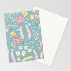 Mixed floral pattern on blue- homedec Stationery Cards