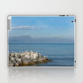 Seagulls on pebbles by the lake under a blue sky Laptop & iPad Skin
