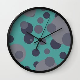 Bubbles grey - turquoise design Wall Clock
