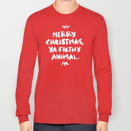 merry christmas ya filthy animal red long sleeve t shirt by catcoq society6