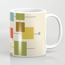 Mid-Century Modern Geometric Abstract Squares - Multi-colour Coffee Mug