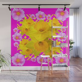 Colorful Fuchsia Pink Roses & Gold Daffodils Wall Mural