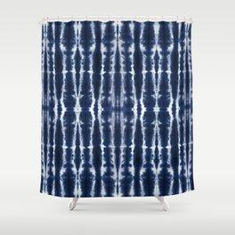 Palm Tiki Shibori Indigo Shower Curtain