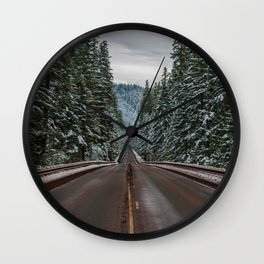 Winter Road Trip - Pacific Northwest Nature Photography Wall Clock
