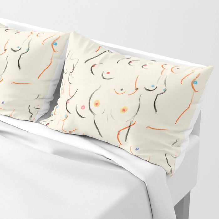 Breasts in Cream Pillow Sham